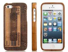 Natural Bamboo Material Retro Cassette Design Protective Case for iPhone 5