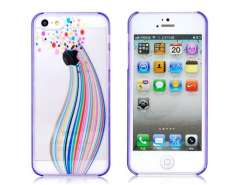 Colorful Ball Pattern Transparent Protective Case for iPhone 5 (Purple)