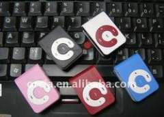 Hot selling OEM brand 'C' shape fashion cute mini clip mp3 mp4 player support max micro sd card 2gb