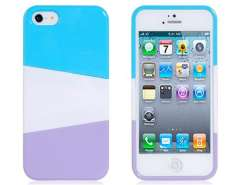 NEWTOP Gathered Tri-Color Protective Case for iPhone 5 (White & Blue & Purple)