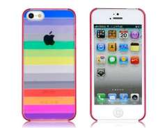 Colorful Rainbow Pattern Transparent Protective Case for iPhone 5 (Red)