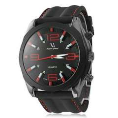 2013 men's sports watch | PC Quartz | Black dial silicone band | Spot | Wholesale Watches