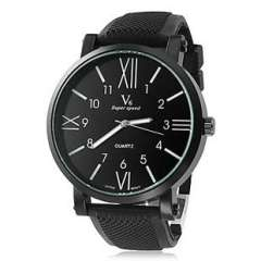 2013 Men's Quartz | Analog Black Steel Dial | Black Silicone Band Watch | stock