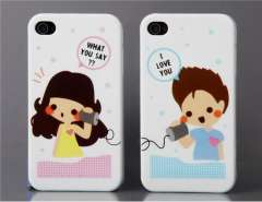 Couple Plastic Case for iPhone 4 (White)