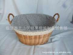 Factory direct 'Willow', 'willow basket' hand-woven, oval primitive streak ears linen storage basket