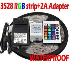 Free Shipping+3528 Waterproof 5M 300 LED RGB LED Strip with 2A led adapter 24 keys led controller