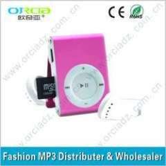 Digital Clip MP3 Player can support Memory Card with free logo printed for promotional gifts