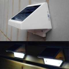 LED lamp | New Arrival Hot Bulb Solar Power Panel 4 LED Fence Gutter Light Outdoor Garden Wall Lobby Pathway Lamp Cold White