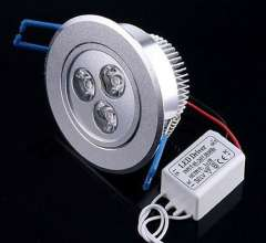 Free Shipping 10pcs\lot 3W High Power LED Downlight CE&ROHS Warm White\Cool White AC85V~265V