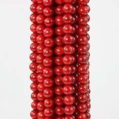 7MM round natural red coral necklace 15.5 inches