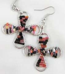 Fashion charm beads red and black earrings
