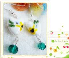 Hearttex ceramic beads earrings sunflowers