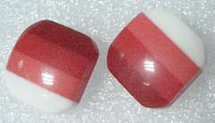 Japan shiny red square earrings