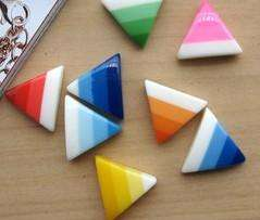 Draw rainbow yellow triangle earrings