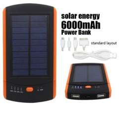 Anti fall Portable Solar Charger 6000mah external battery Solar Power Bank powerbank For Mobile Phones iphone 5 5s 6 plus