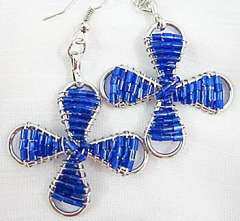 Fashion charm beads dark blue earrings