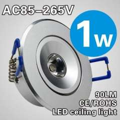 1W LED Recessed Downlight Cabinet Lamp silver shell 85-265v down light+ driver +free shipping