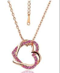 Full drill double peach heart necklace / Smooth peach heart necklace - Rose Red ( 2028-2 )