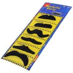 6 in One Self-adhesive Mustaches for Party - Black