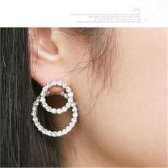 Japanese and Korean fashion --landy small complex lady full of diamond double ring earrings (RH0019)