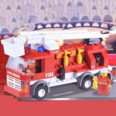 NO.80931 Plastic Building Blocks FM-1 Elevating Platform Fire Truck Educational Funny Toy for Children