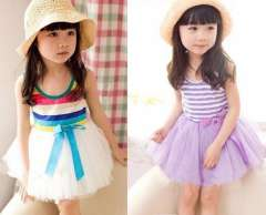 2013 summer female child tulle dress stripe bow 6 tulle dress vest child one-piece dress