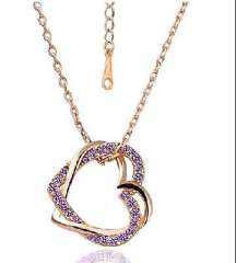 Full drill double peach heart necklace / Smooth peach heart necklace - purple ( 2028-5 )