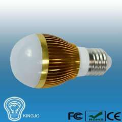 Glod plated warm white 3w led bulb light with e27 base