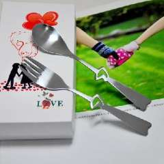 Hollow heart- shaped piece of stainless steel fork spoon couples