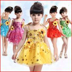 Child costume female child wear dance performance primary school students modern spaghetti strap paillette tulle dress