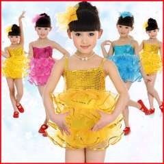 Child dance clothes female child paillette puff skirt one piece ballet skirt performance wear costume