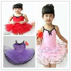 Child ballet tulle dress child dance clothes spaghetti strap tulle dress female child leotard tulle dress