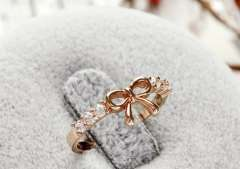 Simple diamond bow ring | 2012 New | Korean jewelry wholesale | Ring | Female | Gold