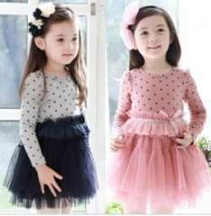 Female child spring children's clothing one-piece dress polka dot child long-sleeve princess wind one-piece dress tulle dress