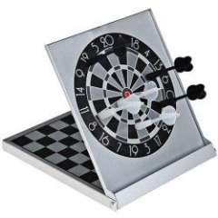 Mini Dart with Magnetic International Chess Game in Folding Aluminum Case