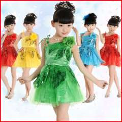 Child costume female child children dance performance wear costume female modern paillette tulle dress princess dress