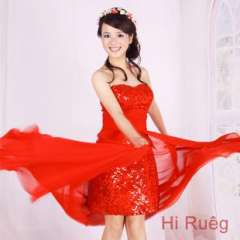 Before the 2013 explosion models long and short chiffon dress | Red bride wedding toast short paragraph evening dress with sequins