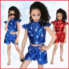 Short design child costume modern dance clothes male female sleeveless child jazz dance ofdynamism hip-hop
