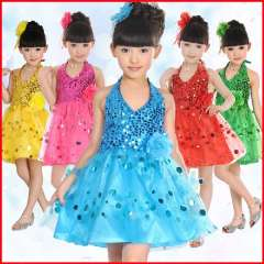 Child costume modern dance performance wear child clothes female child paillette tulle dress