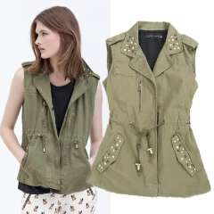 2013 autumn female turn-down collar rivet slim vest casual drawstring tooling vest outerwear Free Shipping