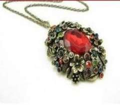 Palace retro | Female | diamond | carving flowers | flowers Hang large Ruby Necklace