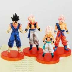 4PCS PVC Anime Dragon Ball 5 Generation Figure Toy with Tea-color Round Base