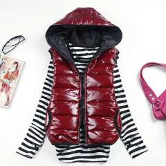 Free Shipping 2012 autumn and winter shiny with a hood thickening cotton vest vest female slim