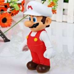 Super Mario Bros Action Mario Figure PVC Anime Toy (White with Red)