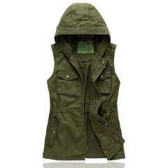 Seahawks spring and autumn women's with a hood olive vest tooling vest slim Free Shipping
