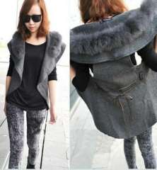 2013 fashion autumn and winter Women fur collar vest outerwear all-match cape vest outerwear with belt Free Shipping