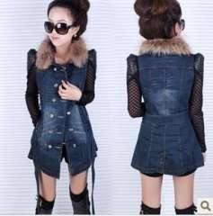 Medium-long women's vest fur collar slim denim vest outerwear female denim top female winter Free Shipping