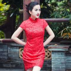 2013 new modified cheongsam Chinese style short sleeve lace | Heavy embroidered red bridal wedding toast clothing