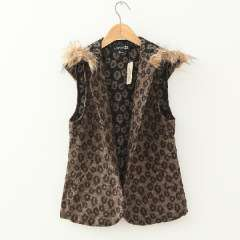 Women's wool leopard print with a hood vest fashion no button fur collar cape outerwear Free Shipping