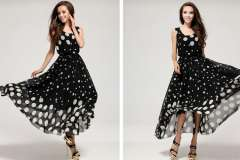 Free Shipping 2013 New Fashion Women Polka Dots Round Collar Chiffon Sleeveless Maxi Dress YR080617